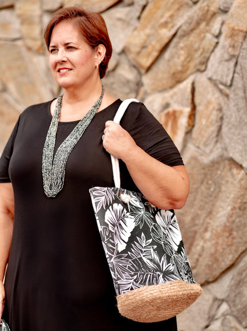 Black & White Tropics Tote with Pouch Set