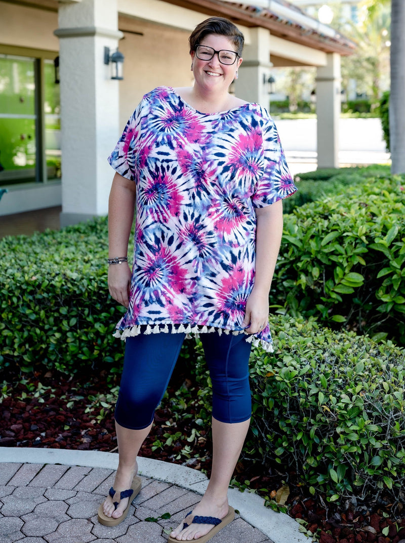 Shades of Pink Tie Dye Tassel Tunic