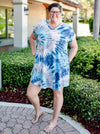 Blue Tie Dye Dream V Neck Swing Dress