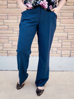 Blue Textured Straight Leg Dress Pants
