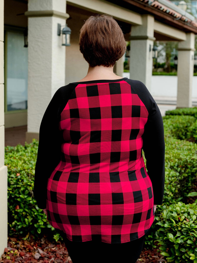 Buffalo Plaid Long Sleeve Tie Front Top