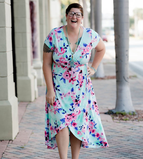 Fabulous Floral Faux Wrap Maxi Dress