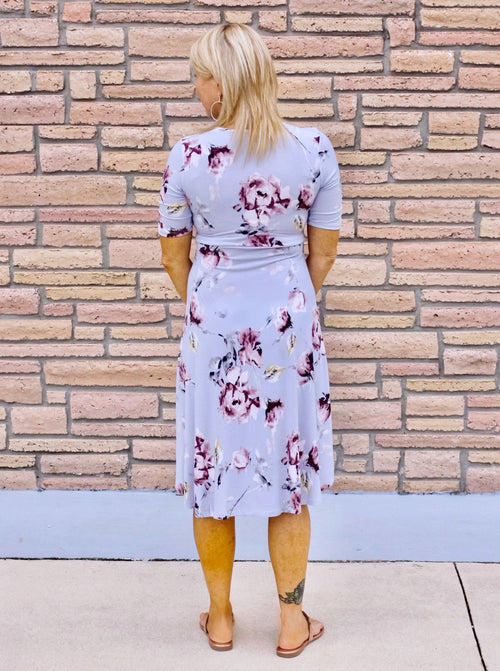 Flirty Floral Faux Wrap High Low Dress