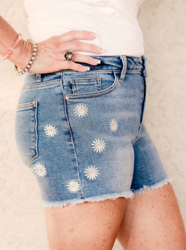 Judy Blue Delightful Daisy Cut Off Shorts