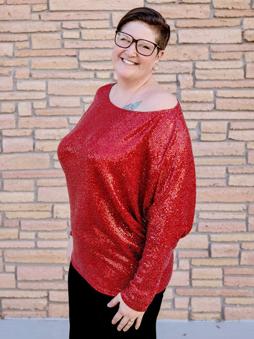 Red Shimmer Date Night Dolman Top
