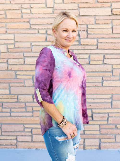 Gabby Night on the Town Blouse in Jewel Tie Dye