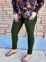 Olive Mid Rise Ponte Knit Skinny Pants