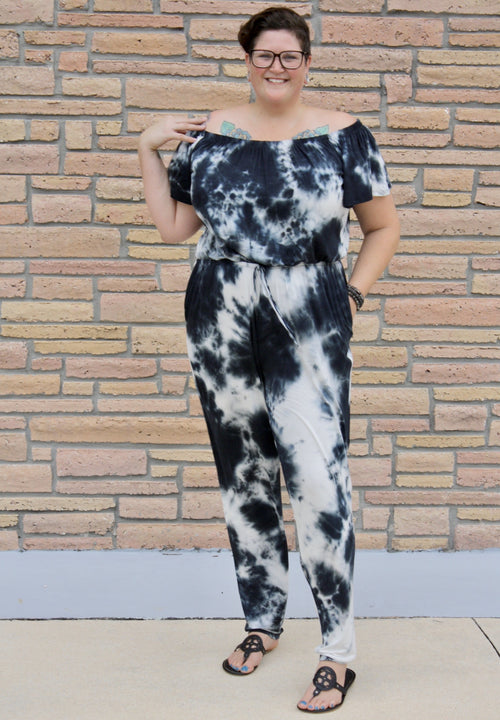 Navy Tie Dye Off Shoulder Jumpsuit