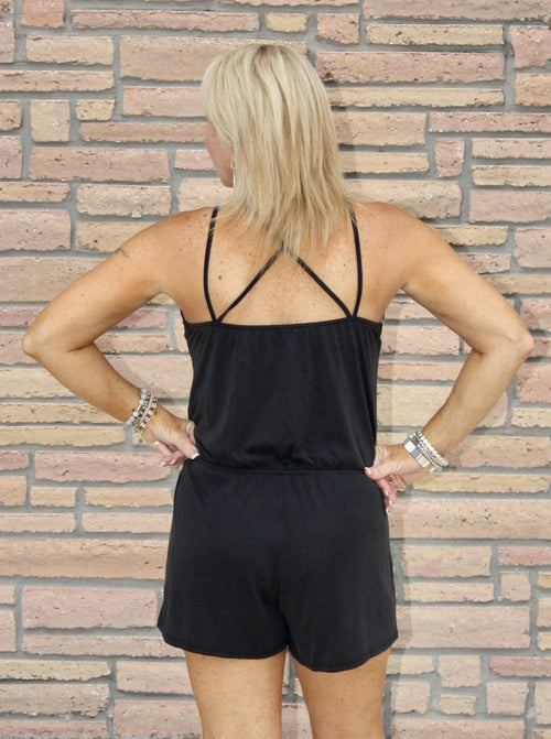 Elegant Strappy Sleeve Romper in Black