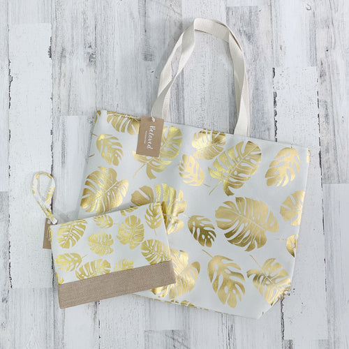 Foil Palm Leaf Beach Tote Set