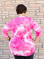 Gabby Night on the Town Blouse in Pink Tie Dye