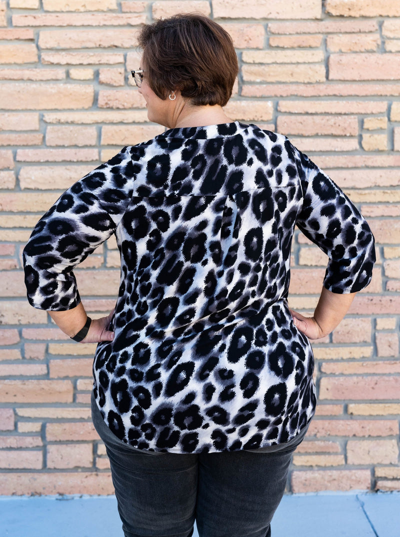 Gabby Night on the Town Blouse in Snow Leopard