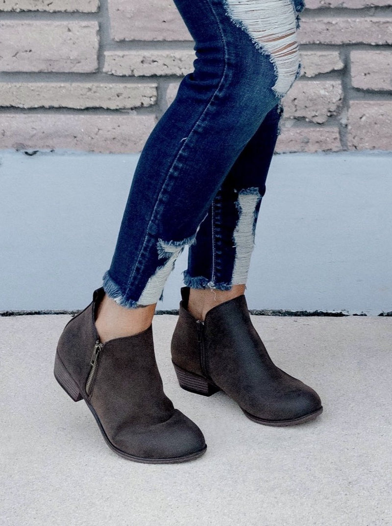 Loretta Oiled Brown Suede Zip Booties
