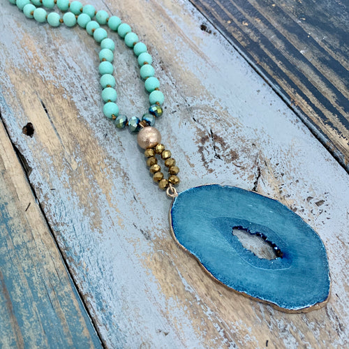 Malibu Beaded Druzy Necklace