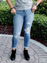 Cello Mid Rise Distressed Rolled Cuff Skinny Jeans