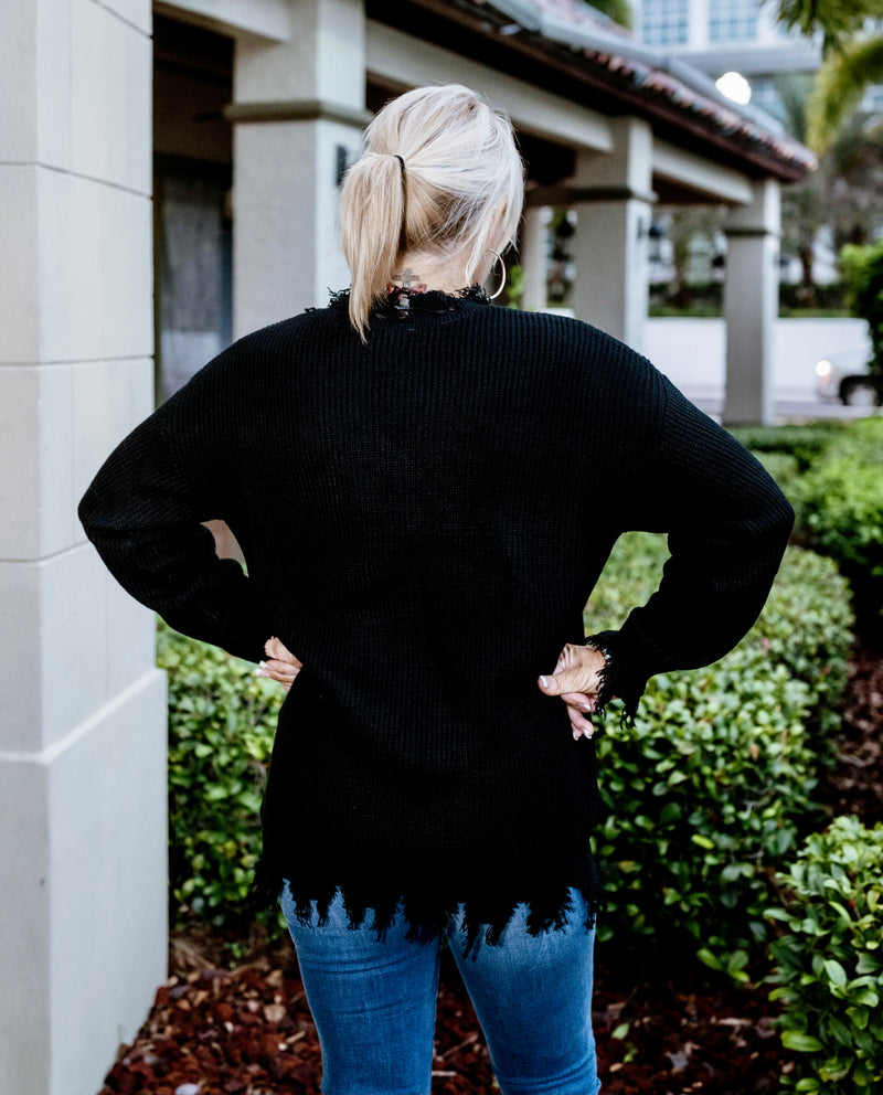 Solid Distressed Light Sweater in Black