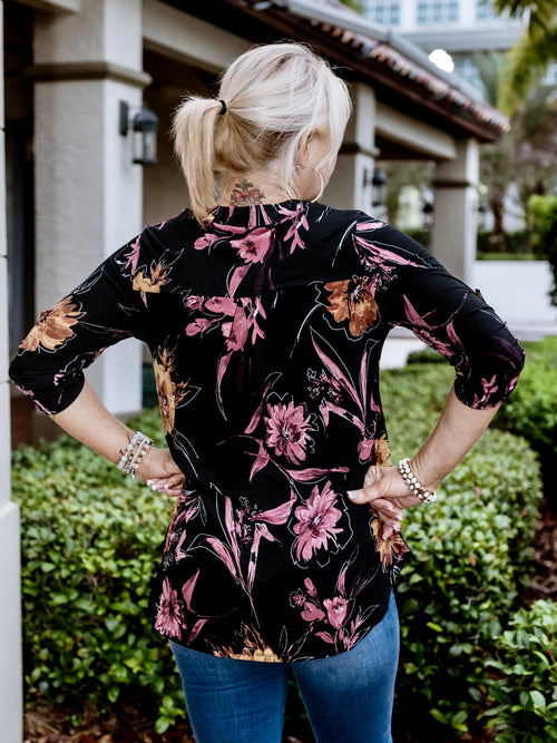 Winter Floral Gabby Blouse