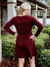 Wine Belted Sweater Dress