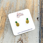 Leopard Pineapple Enamel Studs Earrings