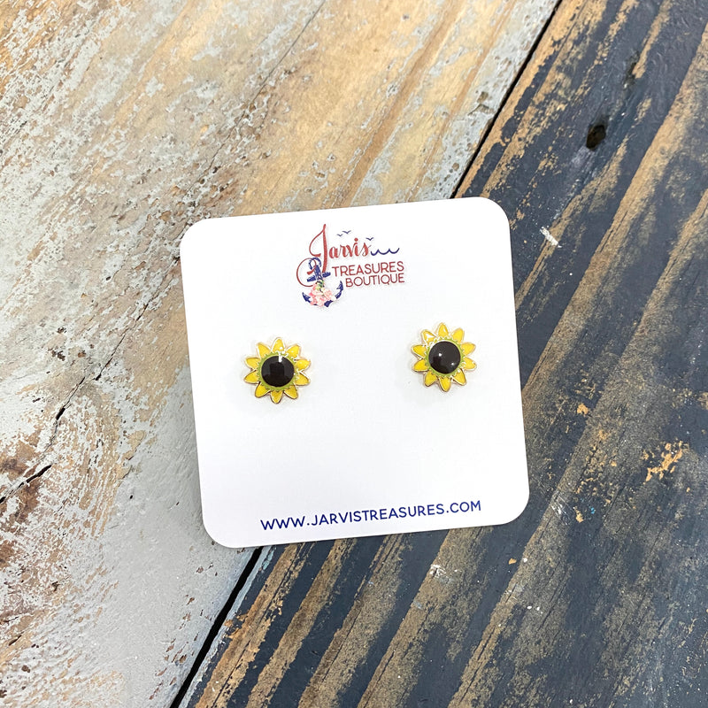 Sunflower Enamel Stud Earrings
