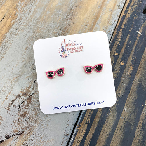 Sunglasses Enamel Stud Earrings
