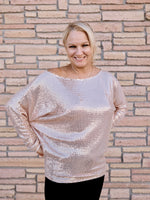 Rose Gold Shimmer Date Night Dolman Top