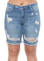 Cello Medium Wash Distressed Bermuda Shorts
