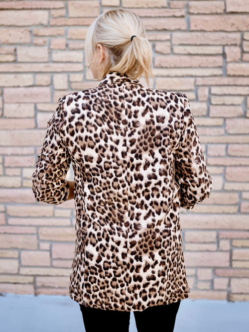 Tan Leopard Ruched Sleeve Blazer