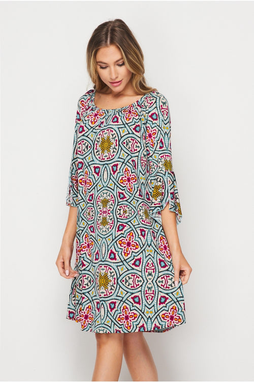 Bell Sleeve Off Shoulder Geometric Dress