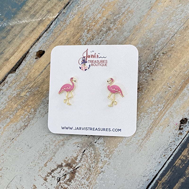 Flamingo Enamel Stud Earrings