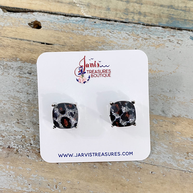 Silver Glitter Leopard Stud Earrings
