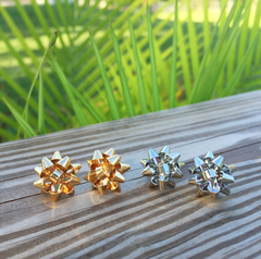 Present Bow Stud Earrings