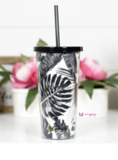 Black N White Palm Tumbler Cup