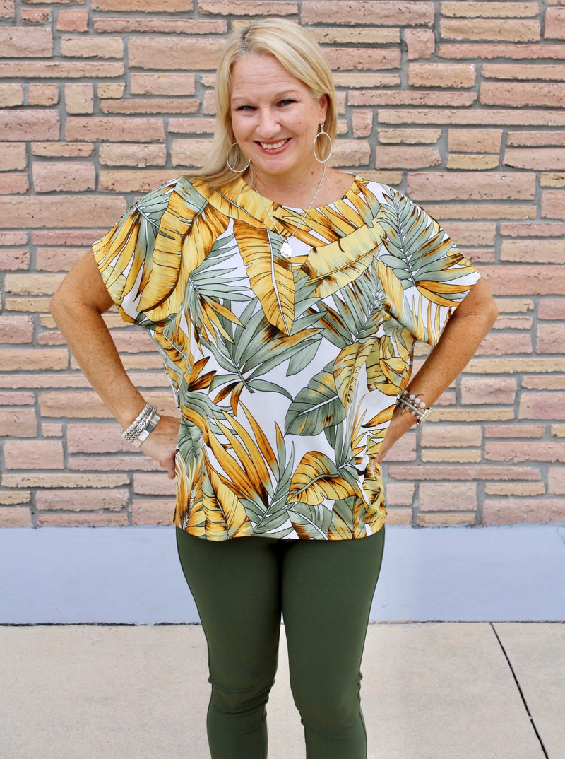 Mustard Olive Palm Perfection Top