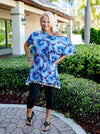 Shades of Blue Tie Dye Tassel Tunic