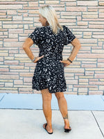 Black & White Delight Belted Flounce Dress