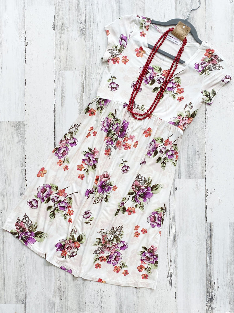 Flirty in Floral Ivory Dress