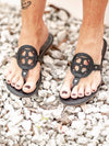 Lulu Love Heart Circle Sandals in Black