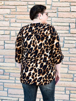 Gabby Night on the Town Blouse in Tan Leopard