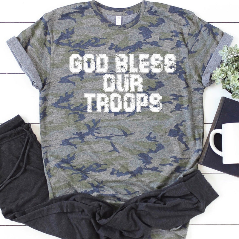 God Bless Our Troops Camo Graphic Tee