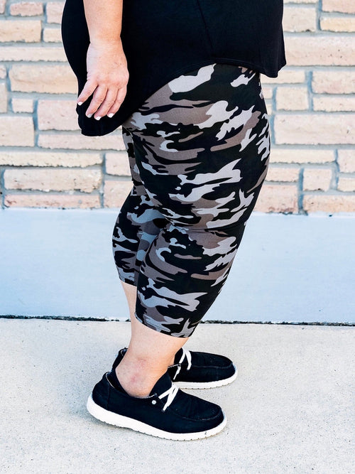 Grey Camouflage Capri Leggings