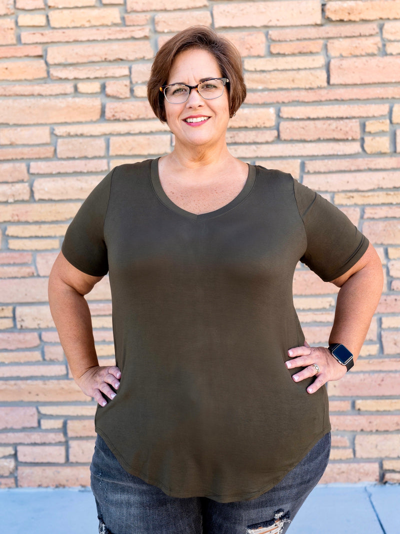 Simple Solid V Neck Top in Olive