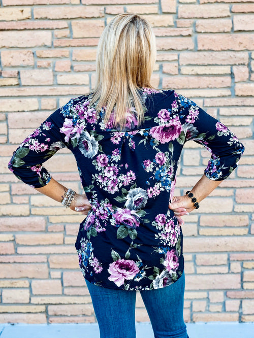 Gabby Night on the Town Blouse in Navy Floral