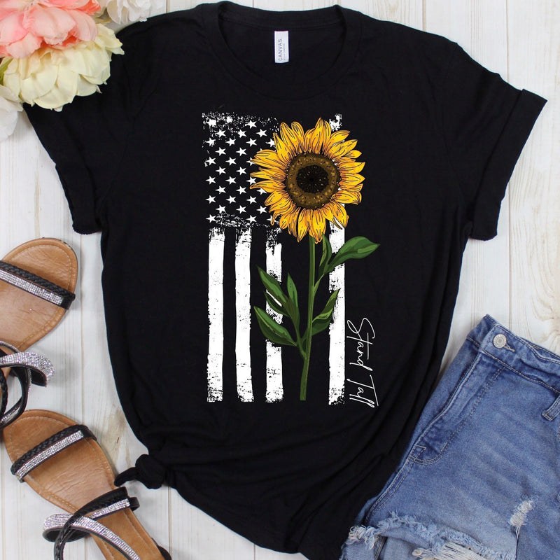 Stand Tall Flower Flag Graphic Tee