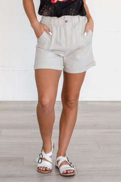 Dreaming Of The Days Paper Bag Shorts- Taupe
