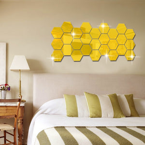 Hexagon Acrylic Mirrored Decorative Sticker