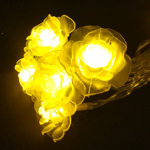 LED Rose String Light Set With White LED Bulbs
