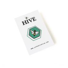 Load image into Gallery viewer, Green bee enamel pin badge