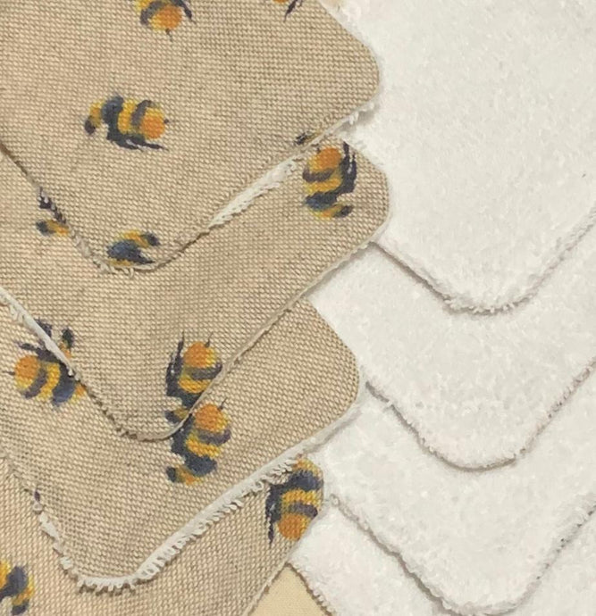 Reusable handmade face pads with bee print