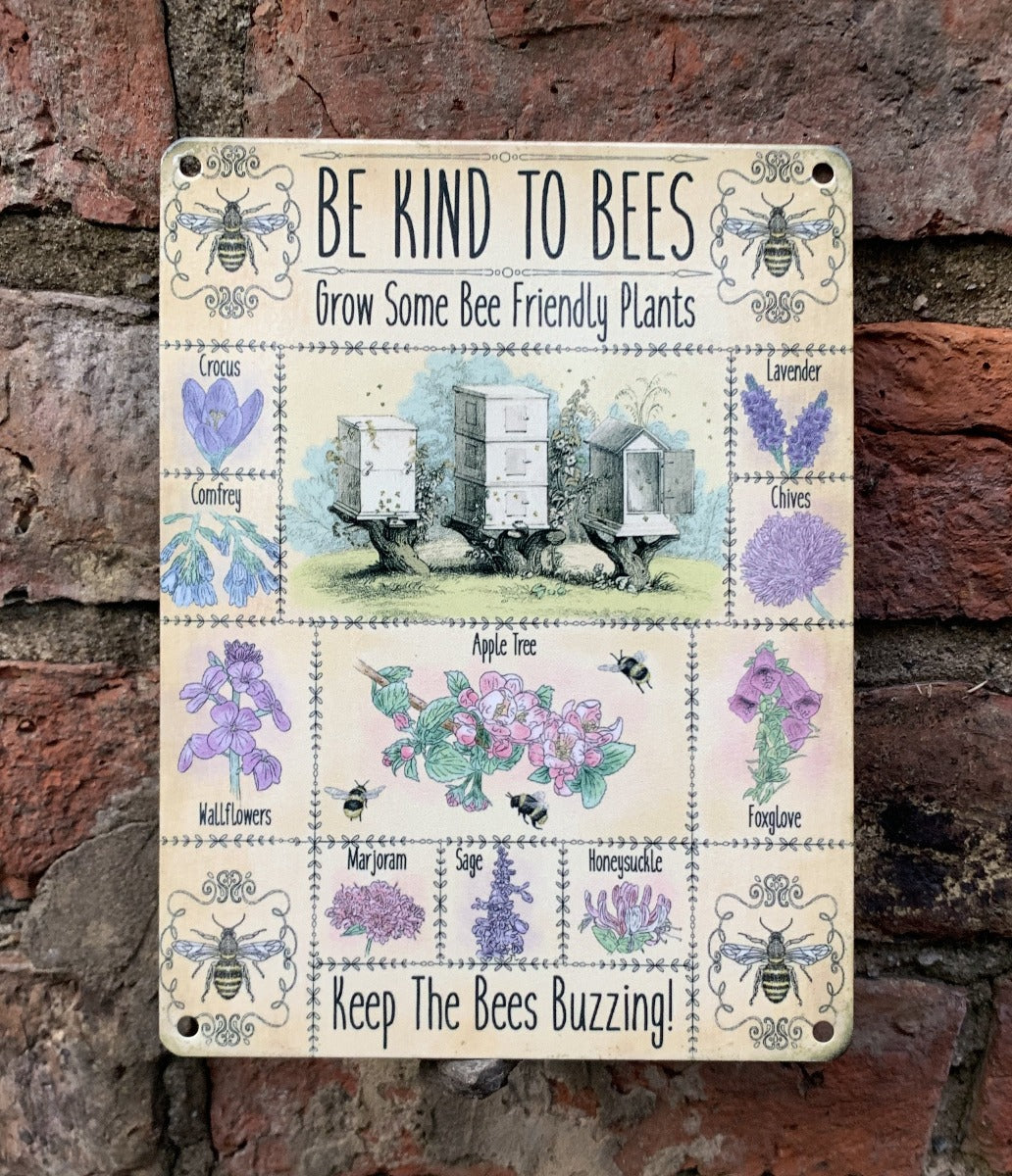 Be kind to bees metal sign